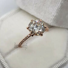 Solid 18K Rose Gold Round Cut 1.75 Ct Gray moissanite Dedicated Engagement Ring
