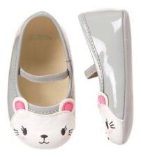 Gymboree Kitties at Play Gray Patent Kitty Cat Face Baby Crib Shoes 01 NWT