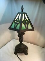 Vintage lead & Slag Glass Lamp Art  Nouveau Tiffany Style Table Light Cherub