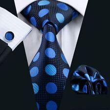 Blau Punkte Gepunktet Seide Krawatte Set Einstecktuch Knöpfe Breit Hochzeit K330