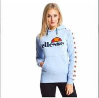 Ellesse Womens Hoody Hoodie Overhead Sky Blue Logo RRP £45