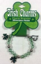 ST. PATRICKS DAY Irish Charms Bracelet 3 Jeweled Charms Stretch Beaded     1/4C