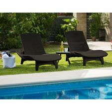 Keter Gray All Weather Adjustable Resin Patio Chaises Lounger Side Table Set