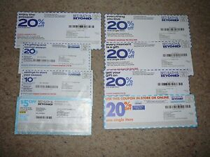 Eight (8) Assorted Bed Bath & Beyond Coupons-Expired