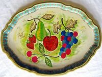 "Vintage 17.5"" x 13"" Baret Ware Tin Serving Tray ""Still Life"" Made in England  L6"