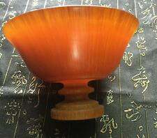 Rare Old Antique Chinese Ox Horn Oxen Hand-Carved Collect  Bowl cup Statue