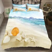 Ocean Beach Duvet Doona Quilt Cover Set Queen King Bedding Set Pillow Case Wave