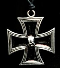 Iron Cross Skull Enamel Pendant Schwartz Germany Gothic Goth Biker Necklace