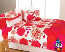 NEW RETRO VINTAGE 60S 70S PEONY RED DOUBLE BEDDING BED DUVET COVER SET