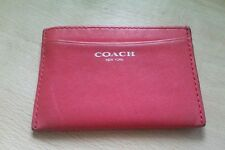 Genuine Coach Legacy Leather Card ID Case Holder 48010 Bright Coral & Silver