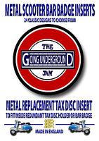 Scooter Metal Insignia, Metal Recambio Tax Disc Inserto, Lambretta (Código 19)