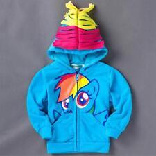 Baby Girls My Little Pony Hoodies Cute Cartoon Zip Up Jacket Jumper 3D Ear Wings