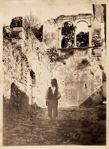 Crupi or Von Gloeden Rare Taormina Sicily Old man vintage albumen ph. 1890c Xl34