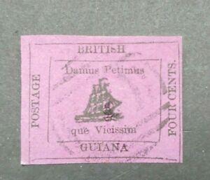 CLASSIC FOUR CENTS GB UK GUYANA GUIANA VF USED WK34.31 $0.99