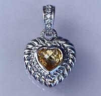 Judith Ripka Sterling Silver Citrine Heart CZ Pendant