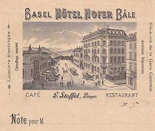 Litho Nota Basel Hotel Hofer Bale Cafe Restaurant Stoffel um 1901 !