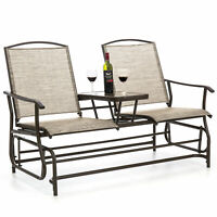 BCP 2-Person Outdoor Mesh Double Glider w/ Tempered Glass Attached Table