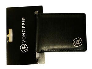 Men's / Boy's VZ Vonzipper Mini Slim Black PU Flip Wallet. RRP $19.95. NWT.