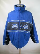 E9187 VTG 90s FILA SPELL-OUT LOGO Retro Hip-Hop Stadium Parka Jacket Size 2XL