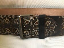 HTC Hollywood Trading Company Wide Leather Moroccan Tooled Leather BELT 32