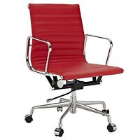 eMod Ribbed Mid Back Office Chair Low Aluminum Group Reproduction Red Leather