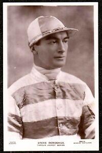 1910 STEVE DONOGHUE BEAGLES FAMOUS JOCKEY REAL PHOTO POSTCARD HORSE RACING LANCS