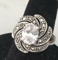 925 Sterling Silver CZ Cubic Zirconia and Marcasite Oval Shape Ring size 6 1/2