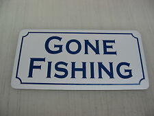 Vintage GONE FISHING Metal Sign for golf course country club Camp grounds NEW