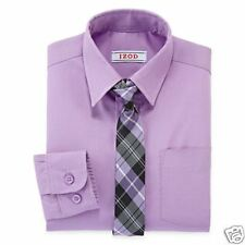 IZOD Lilac Dress Shirt and Striped Tie Set Boys 4 New With Tag Msrp $40.00
