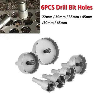 6Pcs Hole Saw Cutting Set Kit Wood Metal Drill Bit Drilling big holes 22-65mm UK