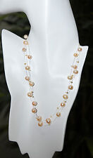 Sterling Silver Genuine AA Freshwater Pink Pearl Illusion Floating Necklace