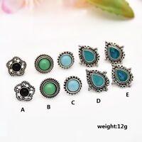 5Pair/Pack Ladies Vintage Turquoise Ear Stud Earrings Boho Style Jewelry Gift