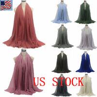Ladies Premium Viscose Maxi Crinkle Cloud Hijab Scarf Shawl Soft Islam Muslim