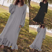 Ladies Casual Ruffle Maxi Dress Womens Long Sleeve Evening Party Dress Size 8-26