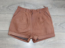 "Brown Leather EPISODE High Waist Front Pleats Hot Pants Shorts Size W28"" L2"""