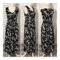 Vintage Part Buttoned Tie Back Sleeveless Dress Size 8/10 Black Ditsy Floral