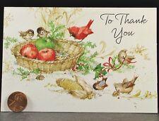 VINTAGE Christmas Adorable Birds Corn Cardinal Thank You Hallmark Card NEW
