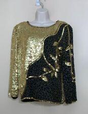 Vtg Jean for Joseph Le Bon Womens Top Silk Black Gold Sequins Long Sleeve Medium