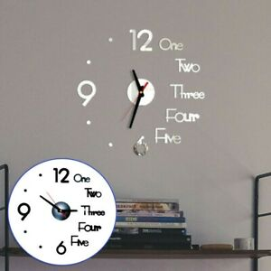 3D Wall Clock Sticker Decal Self adhesive Punch free DIY Decoration Office