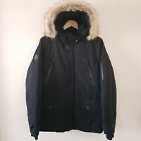 Next Mens Parka Black Coat Shower Resistant Padded Jacket Hood S M L XXL RRP£78