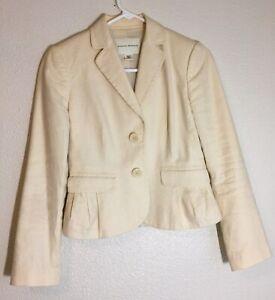 Banana Republic Women Stretch Petite Blazer/Jacket Lined Color Beige Size 0P