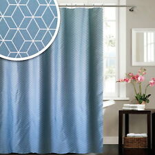 Modern Geometric Shapes Teal Blue Green Fabric Polyester Shower Curtain