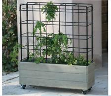 Rolling Planter Bed Trellis Tomato Wood Metal Wheels Climbing Plant Garden Herbs