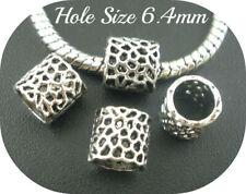 Set of 6 Tibetan Silver 8mm Beads Hole 6.4mm