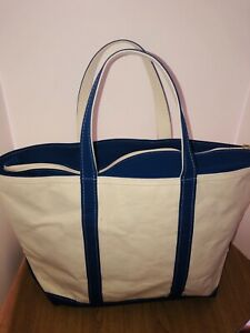"""LL Bean Canvas Boat And Tote 22"""" X 15"""" Royal Blue Handles White Extra Large EUC!"""