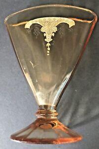 VINTAGE AMBER etched Depression GLASS VICTORIAN FAN VASE