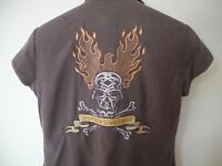 Harley Davidson Embroidered Skull Women's Blouse Shirt Button Front Brown Small