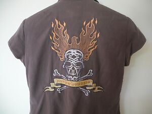 Harley Davidson Womens Blouse Embroidered Skull Shirt Button Front Brown Small