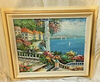 Original Oil on Canvas Painting Signed Won Don, Mediterranean Town, Italy, Lake
