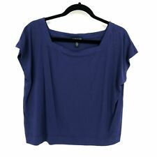 Eileen Fisher Large Solid Blue Viscose Blend Square Neck Cap Sleeve Boxy Top